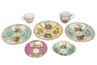 Lot 47-Two late 19th / early 20th century Meissen tea cups and saucers