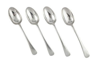 Lot 72-West Kent Militia – A set of four Edwardian sterling silver tablespoons, London 1903 by Jackson and Fullerton