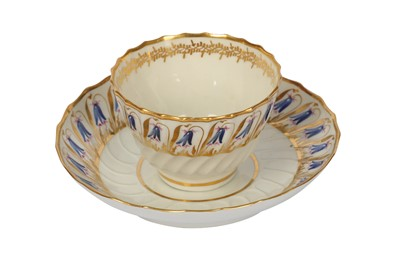 Lot 26-A late 18th century Worcester porcelain tea bowl and saucer