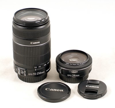 Lot 483-Canon EF-S Stabilized 55-250mm & 24mm f2.8 Lenses.