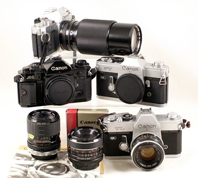 Lot 482-Canon A-1 & FT QL Bodies & Other Canon Items.