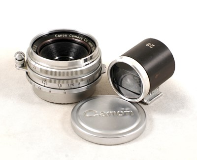 Lot 480-Canon 28mm f2.8 Rangefinder Lens & Finder.