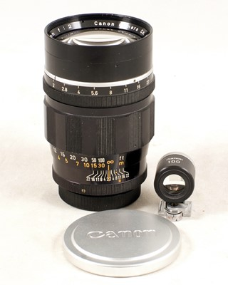 Lot 477-An Uncommon Canon 100mm f2 Rangefinder Lens & Finder.