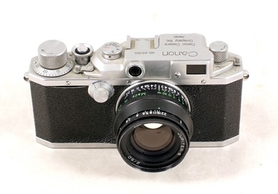 Lot 491-Canon Rangefinder Camera, Model III with Jupiter Lens