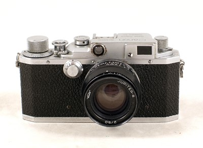 Lot 478-An Uncommon Canon Rangefinder Camera, Model IIc with Jupiter Lens