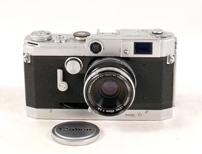 Lot 495-Canon VT Rangefinder Camera, with 35mm Canon Lens