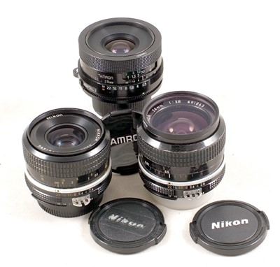 Lot 448-Nikon 24mm & 35mm & a Tamron 28mm Manual Lens