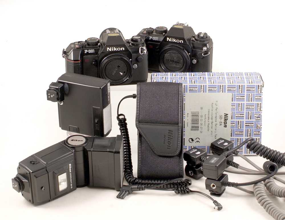 Lot 428-A Pair of Nikon F-301 Camera Bodies, plus Flash Equipment