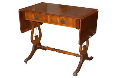 Lot 72 - A REGENCY STYLE YEW WOOD SOFA TABLE, LATE 20TH CENTURY