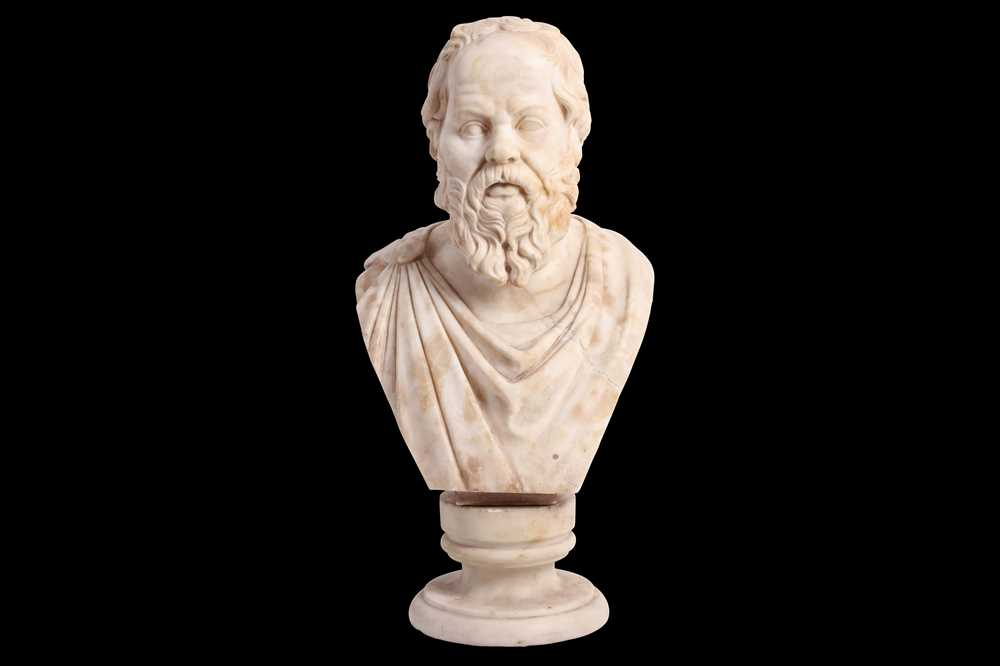 Lot 24 - A LATE 19TH CENTURY ITALIAN ALABASTER BUST OF SOCRATES