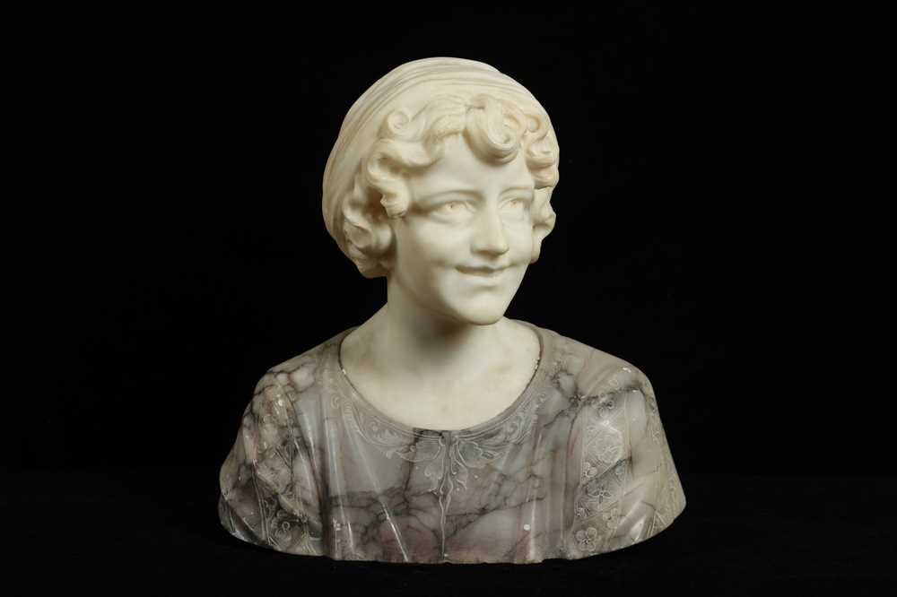 Lot 14 - PROF GIACHI (ITALIAN, LATE 19TH C): AN ALABASTER BUST OF A GIRL