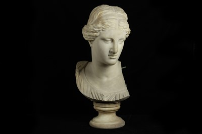 Lot 21 - F. PALLA (ITALIAN, LATE 19TH C) A LARGE WHITE MARBLE BUST OF VENUS AFTER THE ANTIQUE