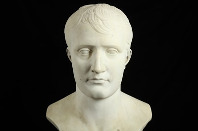 Lot 2 - AFTER  ANTOINE DENIS CHAUDET (FRENCH, 1763-1810): A LARGE 19TH CENTURY MARBLE BUST OF NAPOLEON