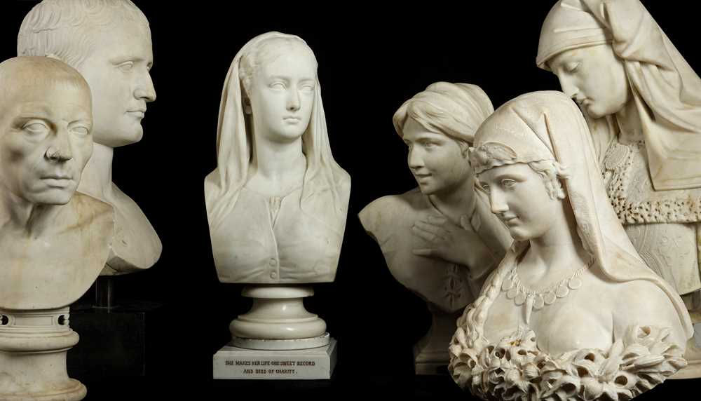 Lot 1 - D. DAVIS (ENGLISH, 19TH CENTURY): A LATE 19TH CENTURY MARBLE BUST OF CHARITY DATED 1878