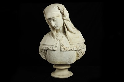 Lot 6 - A FINE LATE 19TH CENTURY ITALIAN MARBLE BUST OF A MAIDEN OR FEMALE SAINT