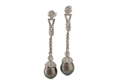 Lot 11 - A pair of cultured pearl and diamond pendent earrings