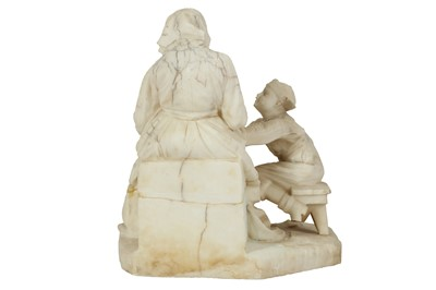 Lot 17 - EUGENIO BATTIGLIA (ITALIAN FL. LATE 19TH C): AN ALABASTER GROUP OF A GRANDMOTHER AND CHILD