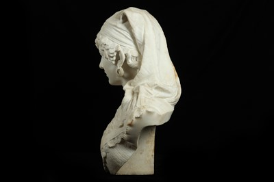 Lot 7 - A LATE 19TH CENTURY ITALIAN MARBLE BUST OF  ODALISQUE  (LA SULAMITIDE) DATED 1890