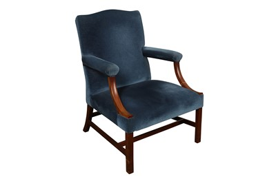 Lot 32 - A GEORGE III STYLE GAINSBOROUGH CHAIR