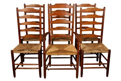 Lot 26 - A SET OF FIVE COTSWOLD SCHOOL YEW WOOD LADDER BACK DINING CHAIRS BY EDWARD GARDINER