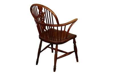 Lot 141 - A YEW WOOD, ASH AND ELM LOW BACK DOUBLE BOW WINDSOR CHAIR