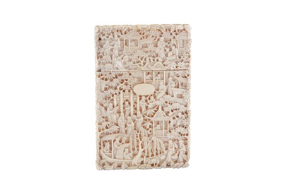 Lot 34 - A late 19th century Chinese carved ivory card case, canton circa 1870