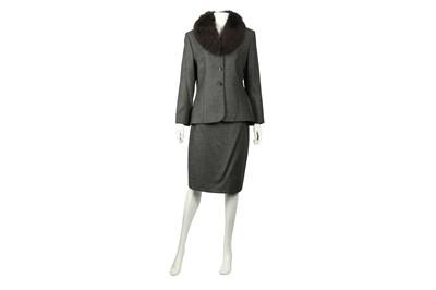 Lot 75 - Burberry Grey Fur Trim Skirt Suit - Size 42