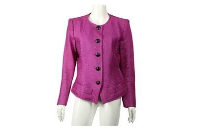 Lot 67 - Yves Saint Laurent Violet Jacquard Jacket - Size 42