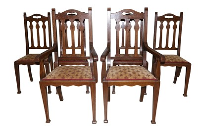 Lot 16 - JAS. SHOOLBRED & CO, A SET OF SIX ARTS & CRAFTS OAK DINING CHAIRS RETAILED AT LIBERTY'S