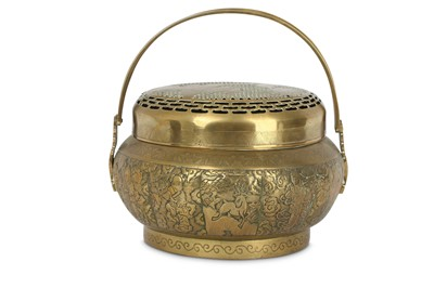 Lot 21 - A CHINESE BRONZE 'EIGHT IMMORTALS' HANDWARMER AND COVER.