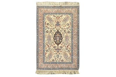 Lot 68 - AN EXTREMELY FINE PART SILK SIGNED ISFAHAN RUG, CENTRAL PERSIA