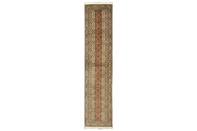 Lot 72 - A VERY FINE AND UNUSUAL PART SILK TABRIZ RUNNER, NORTH-WEST PERSIA