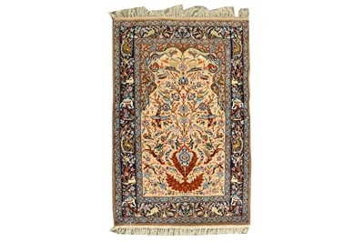 Lot 73 - AN EXTREMELY FINE PART SILK ISFAHAN PRAYER RUG, CETRAL PERSIA