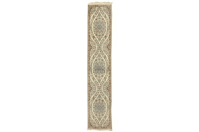 Lot 71 - A VERY FINE PART SILK NAIN RUNNER, CENTRAL PERSIA