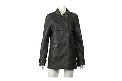 Lot 76 - Chanel Grey Shearling Embellished Jacket - Size 40