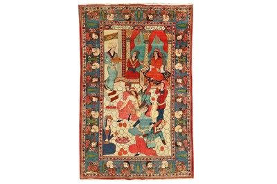 Lot 60 - A FINE KASHAN PICTORIAL RUG, CENTRAL PERSIA