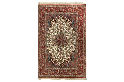 Lot 77 - AN EXTREMELY FINE PART SILK ISFAHAN CARPET, CENTRAL PERSIA