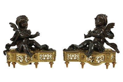 Lot 122 - A PAIR OF MID 19TH CENTURY FRENCH BRONZE MODELS OF CHERUBS WARMING THEIR HANDS