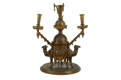 Lot 44 - A THIRD QUARTER 19TH CENTURY ENGLISH EGYPTIAN REVIVAL SILVER AND GILT BRONZE EPERGNE MODELLED WITH CAMEL