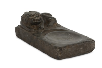 Lot 27 - A CHINESE STONE 'LION DOG' INK STONE.