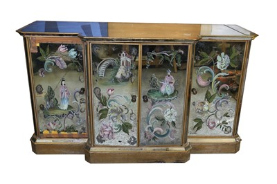 Lot 87 - A GILTWOOD AND DISTRESSED MIRROR BREAKFRONT SIDEBOARD