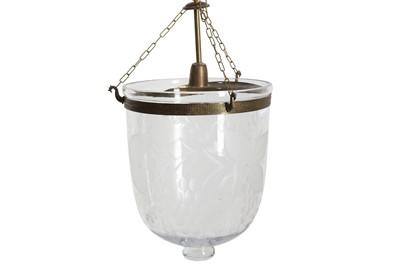 Lot 76 - A GLASS AND METAL HUNDI LAMP, 20TH CENTURY