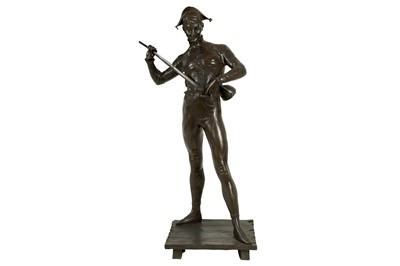 Lot 127 - PAUL DUBOIS (FRENCH, 1827-1905): A BRONZE FIGURE OF A HARLEQUIN