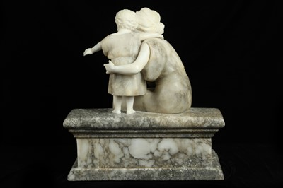 Lot 12 - A LATE 19TH CENTURY ITALIAN CARVED COLOURED MARBLE AND ALABASTER FIGURAL GROUP OF A MOTHER AND CHILD
