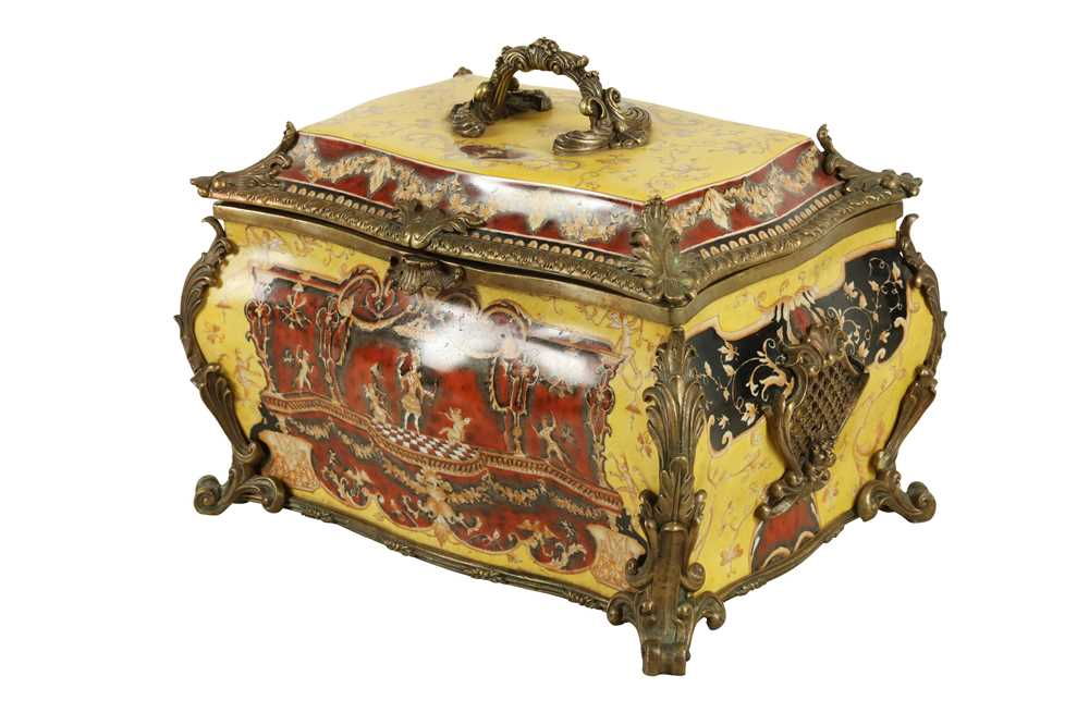 Lot 79 - A LARGE ROCOCO STYLE PORCELAIN AND BRONZE MOUNTED TABLE CASKET