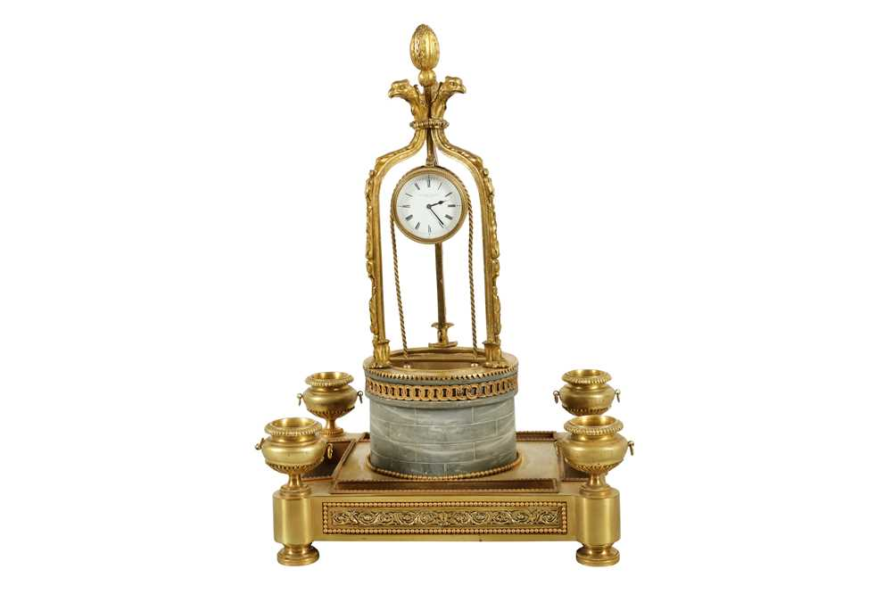 Lot 88 - AN IMPRESSIVE  LOUIS XVI STYLE GILT BRONZE AND MARBLE NOVELTY DESK CLOCK MODELLED AS A WISHING WELL