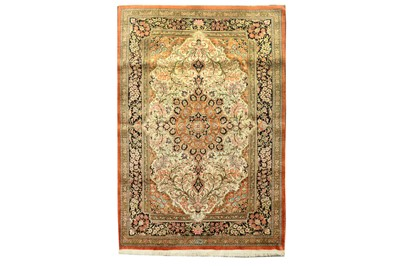 Lot 95 - AN EXTREMELY FINE  SIGNED SILK QUM RUG, CENTRAL PERSIA