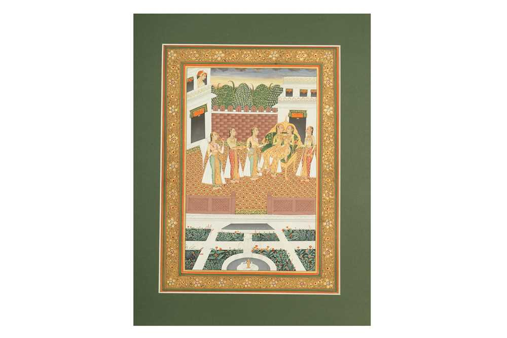 Lot 338 - A GATHERING OF COURTLY LADIES IN THE ZENANA