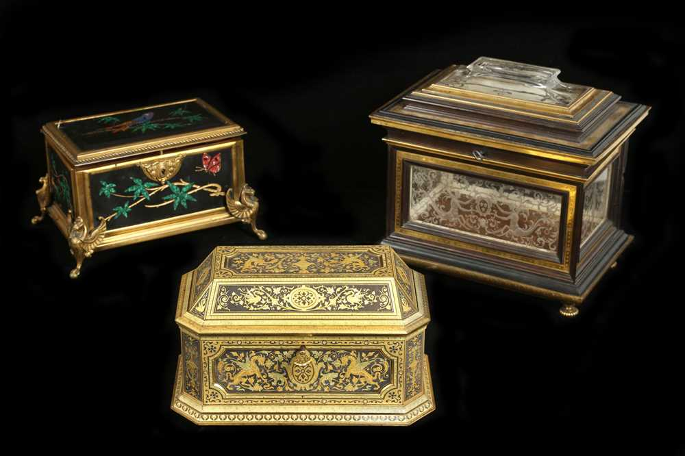 Lot 27 - A LATE 19TH CENTURY GILT BRONZE AND PIETRE DURE INLAID CASKET