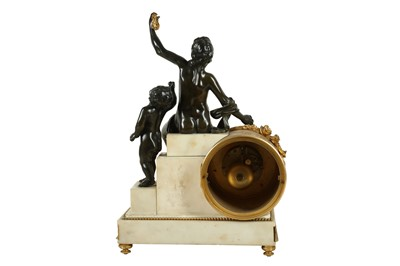 Lot 91 - AFTER THE MODEL BY ANDRE-CHARLES BOULLE: A LATE 19TH CENTURY FRENCH GILT AND PATINATED BRONZE AND MARBLE MANTEL CLOCK